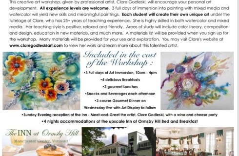 A workshop flier with various artistic and craft related images, and details pertaining to the workshop offerings.
