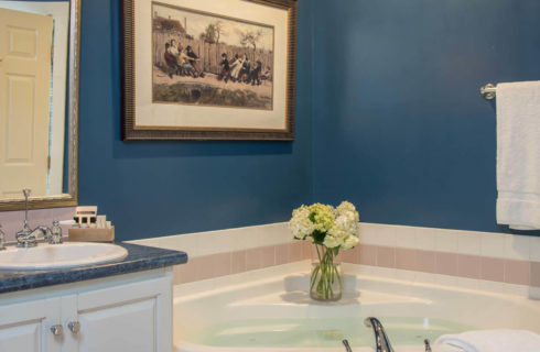 Bathroom with a cabinet vanity, mirror, corner soaking tub and blue walls.
