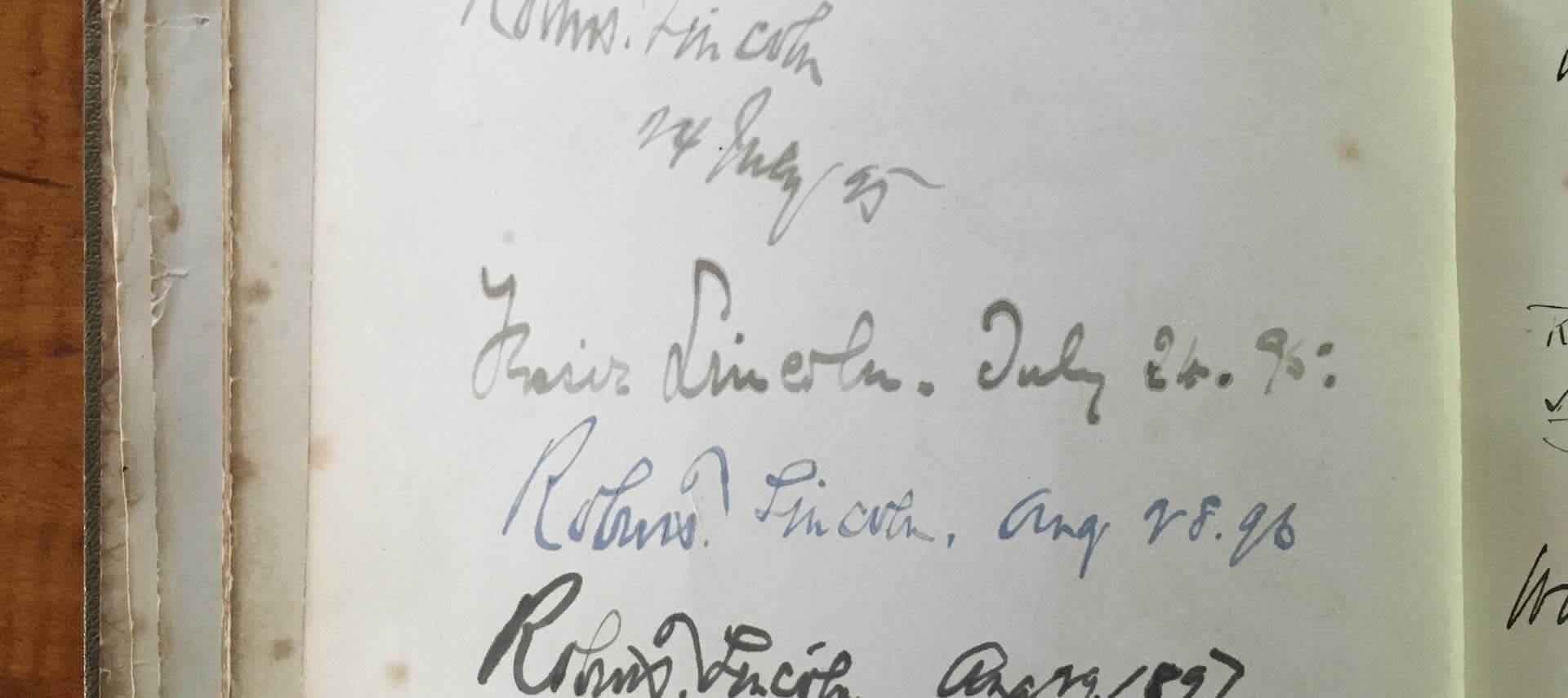 A list of signatures and dates on a very old historic book page.